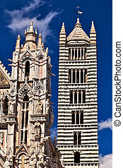 Siena cathedral facade and tower bell view.