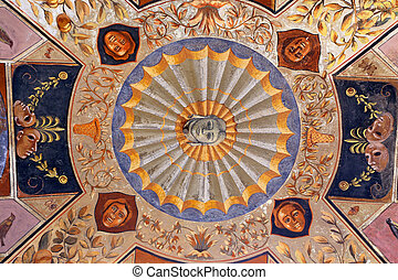 Siena - ceiling in arches of the Palazzo Chigi Saracini courtyard