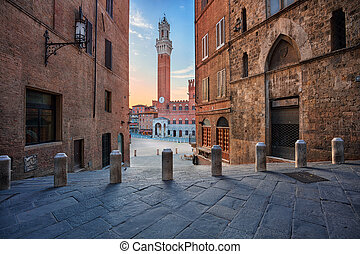 Siena. - Cityscape image of Siena, Italy with Piazza del...