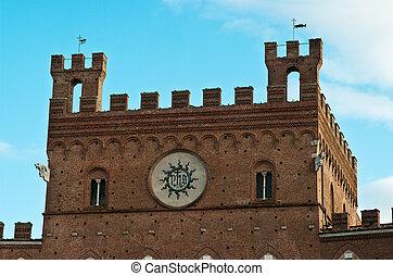 siena, der, piazza del campo, der, regierung gebäude, (town, hall)