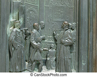 Siena - Duomo. Beautifully decorated bronze doors
