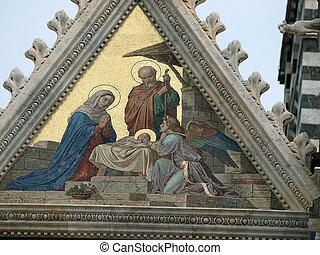 Siena - Duomo facade. The smaller mosaic, Nativity of Jesus ...