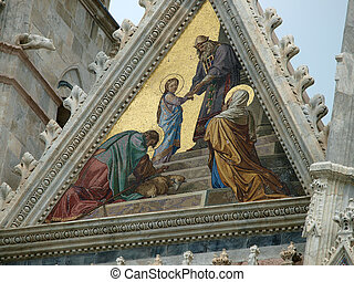 Siena - Duomo facade. The smaller mosaic, Presentation of Mary in the Temple, by Alessandro Franchi.