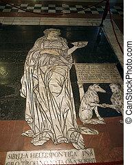 siena, -, duomo, interior., 一, ......的, the, 56, 壯麗, 蝕刻, 以及, 鑲嵌, 大理石地板, 面板