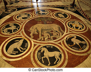 siena, -, duomo, interior., 一, ......的, the, 56, 壯麗, 蝕刻, 以及, 鑲嵌, 大理石地板, panels., the, sienese, 她, 狼, 由于, 象征, ......的, 12, 同盟, 城市