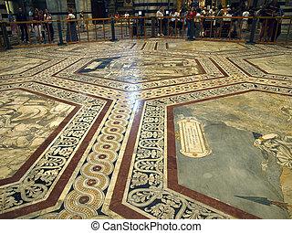 siena, -, duomo, interior., 一, ......的, the, 59, 壯麗, 蝕刻, 以及, 鑲嵌, 大理石地板, 面板