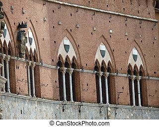 Siena - Gothic Palazzo Pubblico facade