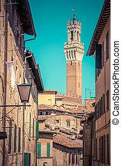Siena, Italy. Mangia Tower, Italian Torre del Mangia....