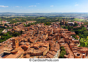 Siena, Italy panoramic rooftop city view. Tuscany region