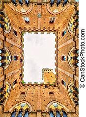 Siena landmark photo. Cortile del Podesta courtyard, Torre...