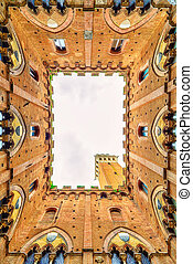 Siena landmark photo. Cortile del Podesta courtyard, Torre ...