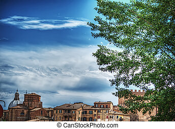 Siena landscape on a cloudy day in hdr