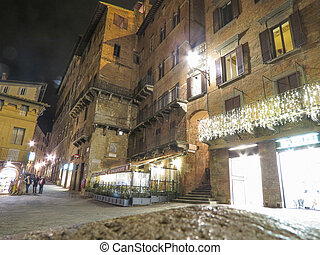 Siena, Italian medieval town - Piazza del Campo by night