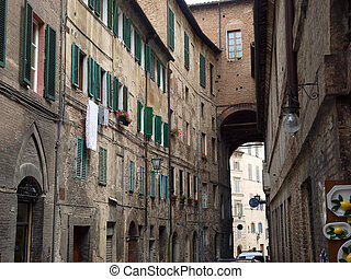 Siena - picturesque street in the historic city centre