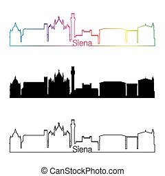 Siena skyline linear style with rainbow in editable vector ...
