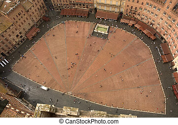 Siena square from the bell tower
