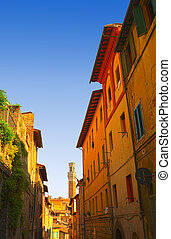 Siena - Narrow Alley With Old Buildings In Italian City of...