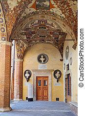 Siena - the courtyard of the Palazzo Chigi-Saracini