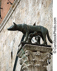 Siena - the town's emblem; a she-wolf suckling the infants ...