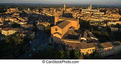 Siena, Tuscany, Italy - aerial view of the old town