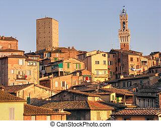Siena, Tuscany, Italy - Detail of Siena, Tuscany, Italy in...