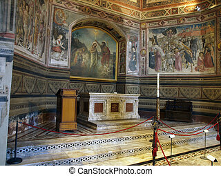 Siena - wonderfully decorated inside of the Baptistery