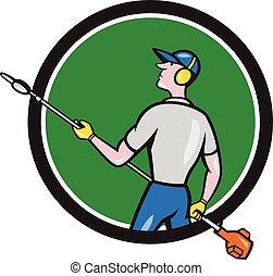 siepe, cerchio, cartone animato, giardiniere, trimmer