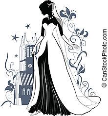 sierlijk, bruid, silhouette