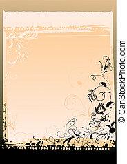 sierlijk, floral, brief, achtergrond