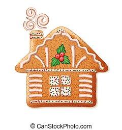 sierlijk, realistisch, vector, traditionele , kerstmis, peperkoek, house., vector, illustratie