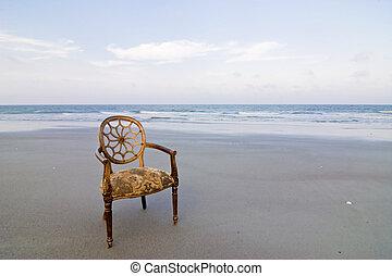 sierlijk, stoel, op, strand