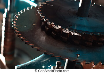 sierra, agudo, circular, peligroso, cierre, horror, máquina, hojas, arriba, corte, films., arriba.