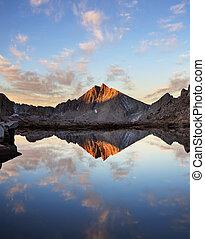 sierra, berg meer, reflectie