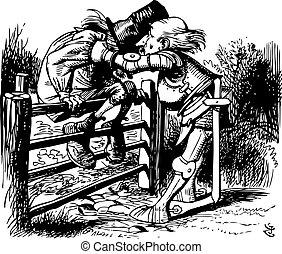 sierra, grabado, libro, original, por, alice, qué, viejo, fundar, -, puerta, hombre, a-sitting, espejo, allí