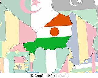 sierra, kaart, globe, vlag, leone