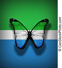 Sierra Leone flag butterfly, isolated on flag background