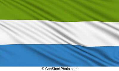 Sierra Leone Flag, with real structure of a fabric