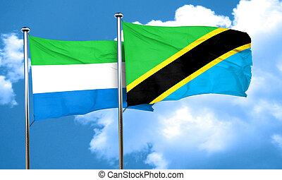 Sierra Leone flag with Tanzania flag, 3D rendering
