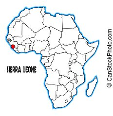 Sierra Leone outline inset into a map of Africa over a white background
