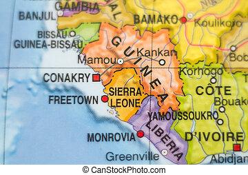 sierra leone, paese, mappa, .