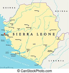 Sierra Leone Political Map with capital Freetown, national...