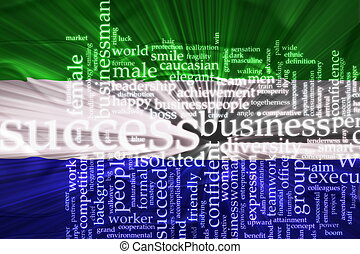 sierra, vlag, golvend, leone, succes