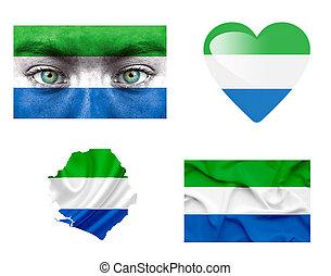 sierra, vlaggen, set, gevarieerd, leone