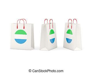 sierra, zakken, vlag, shoppen , leone