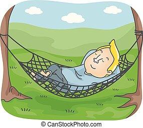 siesta, hamaca, campamento, hombre