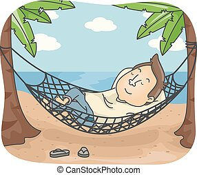 siesta, hamaca, playa, hombre