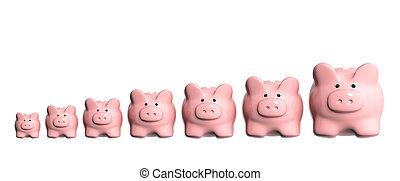 siete, cerdito, diferente, bancos, tamaños