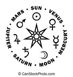 siete, estrella, astrology., «septener»., planetas, ...