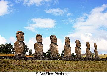 siete, moai, plataforma