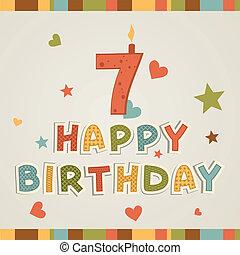 siete, número, birthday., feliz